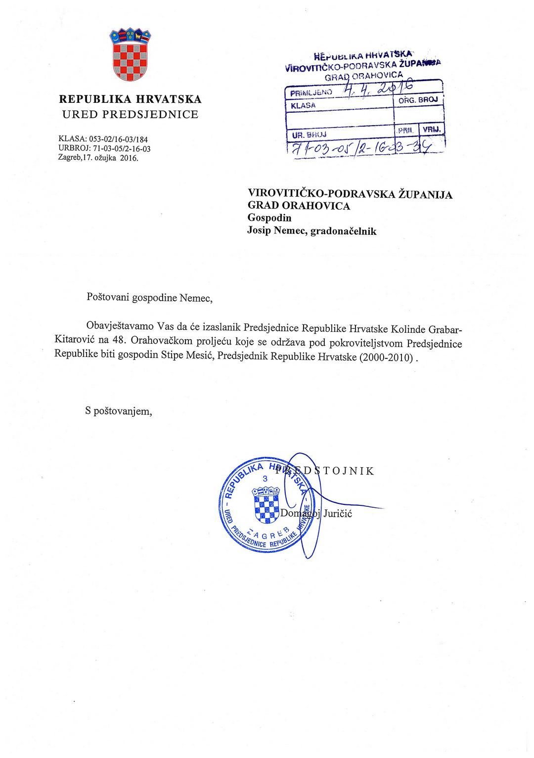 OP 2016 Dopis Predsjednice001